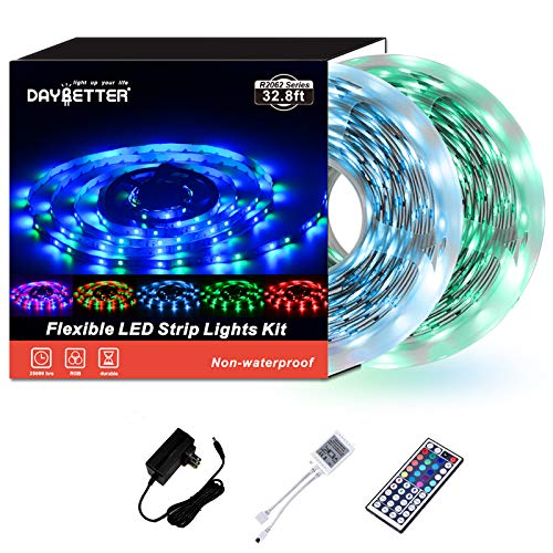 Led Strip Lights 32.8ft 10m 600LEDs Non Waterproof Flexible Color Changing RGB SMD 3528 LED Strip Light Kit with 44 Keys IR Remote Controller and 12V Power Supply NO White Color