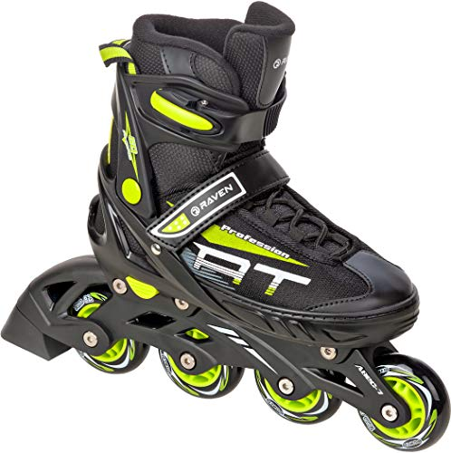 RAVEN Inline Skates Inliner Profession verstellbar (Black/Lime, 38-42(25cm-27,5cm))