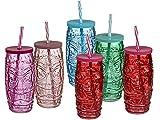 Bada Bing 6er Set Trinkglas Tiki mit Deckel und Strohhalm 600 ml Glas Cocktailgläser in 5 Farben Tiki Bar Hawaii Cocktailspartys Gläser für Draußen Südsee Feeling Urlaub Zuhause 06