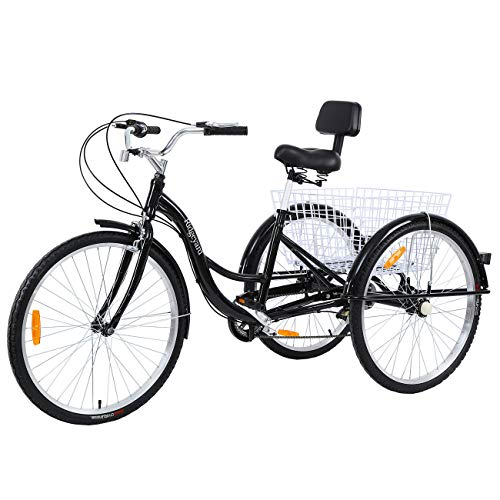 MuGuang Adult Tricycles 26 Inches 7 Speed 3 Wheel Adult Trike Adult Bike Cycling...