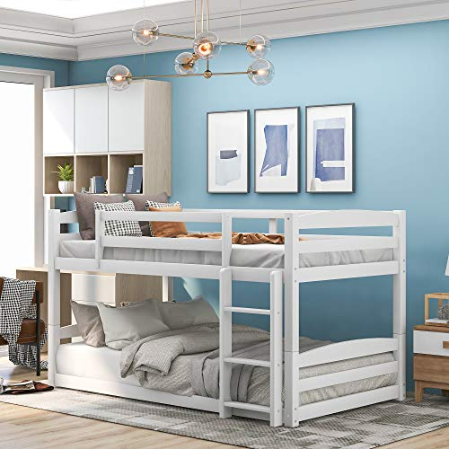 Twin Over Twin Low Bunk Bed, Wood Floor Bunk Bed Frame with Ladder for Kids, Girls, Boys (White)
