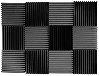 (12 Pk) Charcoal acoustic foam tiles soundproofing foam panels sound insulation soundproof foam padding sound dampening Studio sound proof padding 1