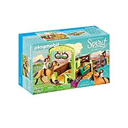 Fun in Miradero: PLAYMOBIL Lucky and Spirit with Horse stall, playset with figures, stable with hay floor and lots of accessories Accurate role-play with Lucky and Spirit figures, box for stowing stable/horse accessories etc., can be combined with th...