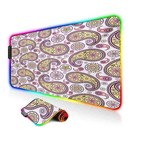 RGB Gaming Mouse Pad Mat,Ornate Detailed Motif Authentic Oriental Print with Vivid Colors Design Non-Slip Mousepad Rubber Base,35.6'x15.7',for Game Players,Office,Study Lilac Yellow