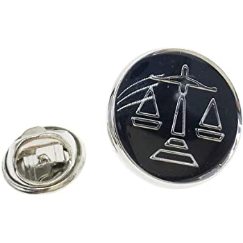 Libra badge Gold version Nice lapel pin. Scales of Justice pin badge