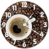 Sugar Vine Art I Love Coffee Clock Unique Clock Large 10.5' Wall Clock Decorative Round Wall Clock Home Decor Coffee Beans in Heart Shape