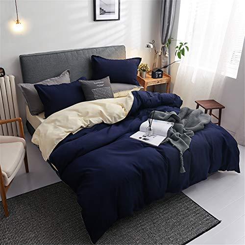 Chanyuan Juego de ropa de cama de 135 x 200 cm, color azul y beige, reversible, 100% microfibra suave y agradable, 1 funda nórdica de 135 x 200 cm y funda de almohada de 80 x 80 con cremallera.
