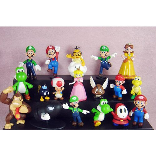 18Pcs Set 1-3\\ Super Mario Bros Figure Toy Doll Pvc Figure Collectors By Sanlise
