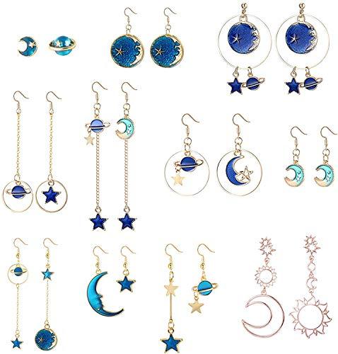 LOLIAS 11 Pares Pendientes Estrella y Luna para Mujer Pendientes Luna Tierra Pendientes Largos Colgantes Asimétricos Pendientes Sol y Luna Pendientes Bohemia Planet Pendientes