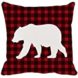 Two Sided Printing Classic Retro Black Red Farmhouse Tartan Buffalo Checkers Plaids Animal Shadow Bear Soft New Home Decorative Cotton Polyester Throw Cushion Cover Pillow Case Square 18 Inches