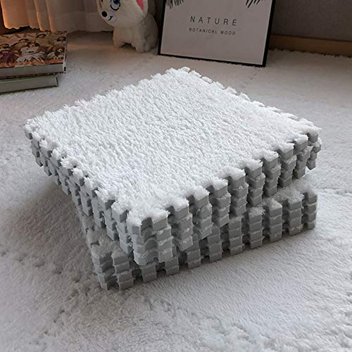 Smabee Interlocking Carpet Shaggy Soft EVA Foam Mats Fluffy Area Rugs Protective Floor Tiles Exercise Play Mat for Children Kids Room Home Parlor Bedroom (12 pcs , White)