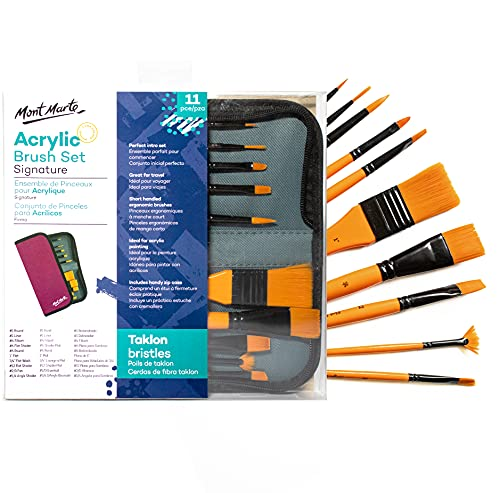 Mont Marte Acrylic Paint Brush Set – 10 Taklon Brushes in Wallet – Ideal Brush Set for Acrylic Painting – Perfect for Beginners, Professionals