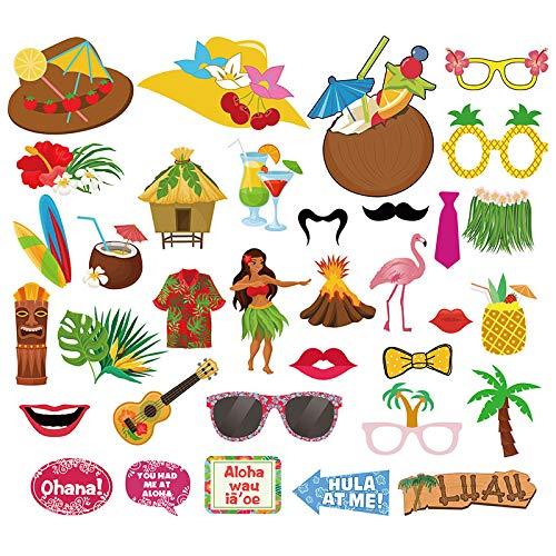 Party Photo Booth Props 61 Stuk Mode Hawaii Photo Booth Props met Stokken en Lijm, Zomer Zwembad Feesten, Vakantie, Tuinfeesten, Kleding Accessoires voor Tropische Strand Vakanties