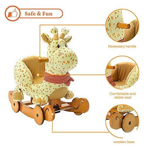 Labebe Baby Schaukelpferd Holz, 2-in-1 Schaukelpferd mit Räder, Schaukeltier Giraffe Gelbe für Baby 1-3 Jahre Alt, Schaukel Pferd/Schaukel Baby/Schaukeltier Musik/Schaukel Kinder/Schaukel Spielzeug - 5