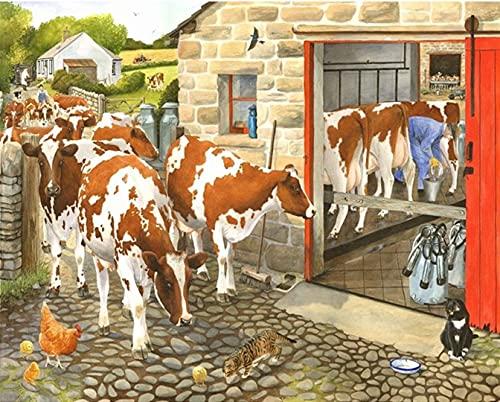 Rompecabezas Puzzle 300 Piezas Vacas de Pasto Rompecabezas para Adultos Juguetes educativos Niños Cool Rompecabezas de Madera Regalo Decorativo 38x26cm