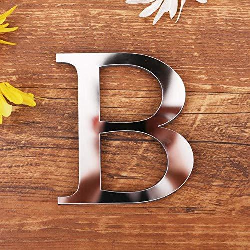 Spiegel Buchstaben Wandaufkleber, 3D DIY Kreativ Acryl 26 Alphabet Buchstaben abnehmbare Wandsticker Decals Für Wohnzimmer Schlafzimmer Wohnkultur (B)