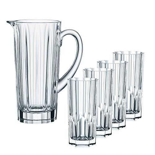 Spiegelau & Nachtmann, 5-teiliges Krug-Set, 1x Krug (1190 ml) + 4x Longdrink-Glas (309 ml), Kristallglas, Aspen, 102999