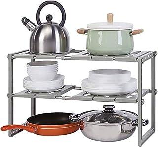 DJSMsnj Rangement de cuisine, 2 niveaux extensible sous l'évier, étagère de rangement multifonction pour cuisine, salle de...