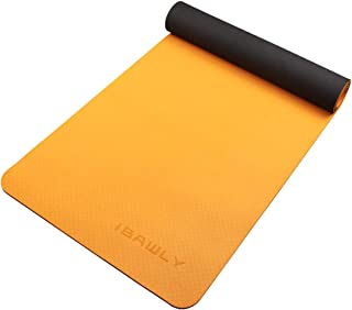 IBAWLY Eco Friendly Non Slip Hot Yoga Mat 1/4 Extra Thick High Density Anti-Tear Exercise Mat for Yoga Fitness Workout 72 x 24 with Carrying Strap 6mm