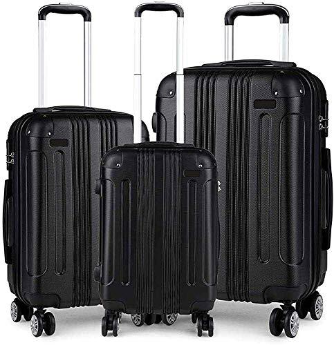 Conjunto de maletas de 3 piezas, maleta ABS ligera, 4 Maleta de viaje redonda,Black