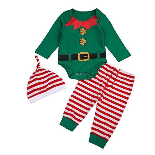 Geagodelia Babykleidung Set Weihnachten Baby Kleidung Unisex Langarm Body Strampler + Hose Kleinkinder Neugeborene Warme Babyset My First Christmas (0-6 Monate, Grün Weihnachtsmann 717)