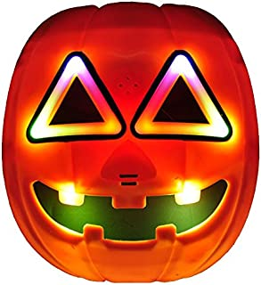 Halloween Glowing Pumpkin Mask, LED Light Up Pumkin Mask for Halloween, Cosplay, Christmas, Thanksgiving, Carnival Crazy Festival Party