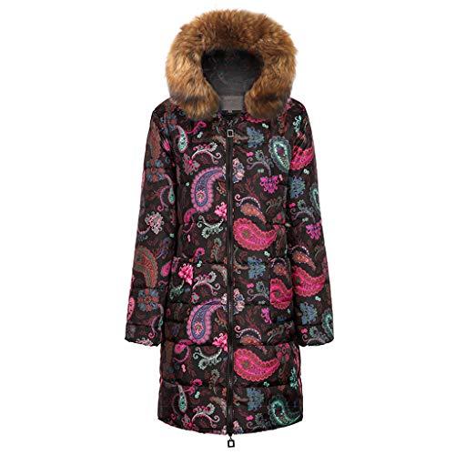 KPPONG Winterjacke Damen Kontrastfarbe Fellkapuze Parka Länge Warm Mantel Daunenjacke Steppjacke Wattierte Jacke