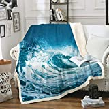 Manta de forro polar Sea Spray para niños, niñas, manta de felpa náutica, azul marino, para sofá, cama, sofá, cama individual, 132 x 152 cm