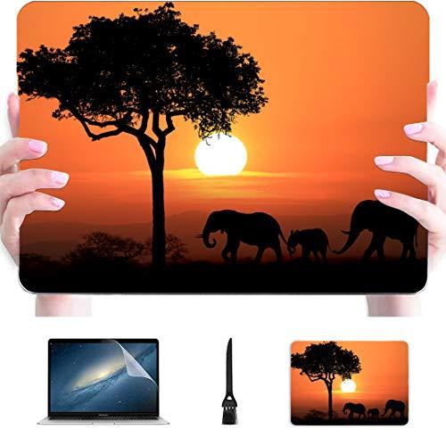 Estuche Macbook Pro de 13 Pulgadas Silueta Elefantes africanos Sunset Carcasa rígida de plástico Compatible Mac Air 13'Pro 13' / 16'Estuches para Mac Cubierta Protectora para Macbook 2016-2020 Vers