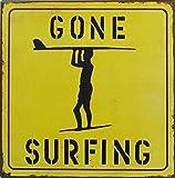 1art1 Surfen - Gone Surfing Poster Blechschild 24 x 24 cm
