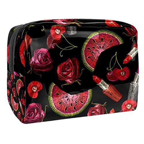 Trousse de toilette multifonction pour femme avec broderie pastèque et rose
