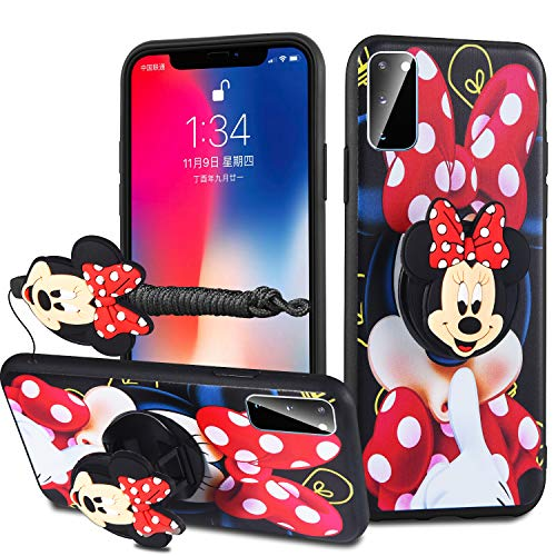HikerClub Galaxy S20 Plus Case Lovely 3D Cartoon Case Mickey Minnie Mouse Soft TPU Silicone Cover with Pop Out Phone Stand Grip Holder and Neck Strap Lanyard (Red, S20 Plus)