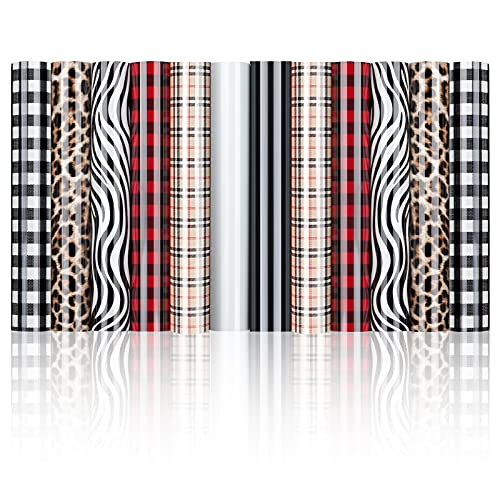 Heat Transfer Vinyl HTV Buffalo Plaid Leopard 12 Sheets Iron on Vinyl for T-Shirt Fabric Craft Pattern,PU HTV Bundle Vinyl for Cricut Clothes Bag Hat Pillow Crafts(12''X10'')