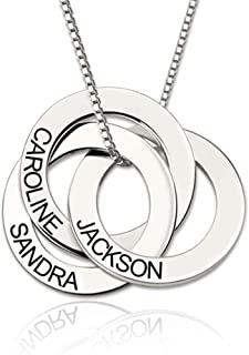 Personalized 925 Sterling Silver Russian Ring Name Necklace Custom Made with 3 Names