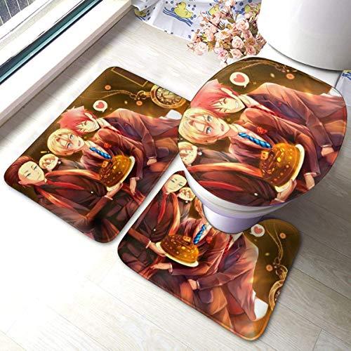 huancheng Food Warsno Soma - Alfombrilla antideslizante para baño (3 juegos de alfombrillas en forma de U)