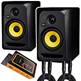 KRK Classic 5 Professional Bi-Amp 5' Powered Studio Monitor (2 Speakers) Pair of XLR Cable + Gravity Phone Holder M