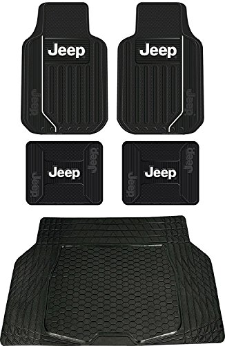 5pc Elite Style Universal Front Rear Rubber Floor mats & UAA Lcargo Trunk mat for Jeep