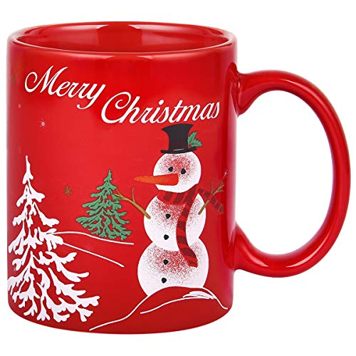 Merry Christmas Red Coffee Mug with Snowman Christmas Tree Novelty Christmas Ceramic Mug Tea Cup Christmas Gifts for Women Men Family Friends 11 Ounce