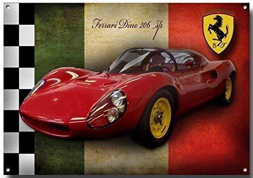 VINTAGE SIGN DESIGNS Ferrari Dino Metallschild Emailliert Finish - 210mm x 285mm x 1mm