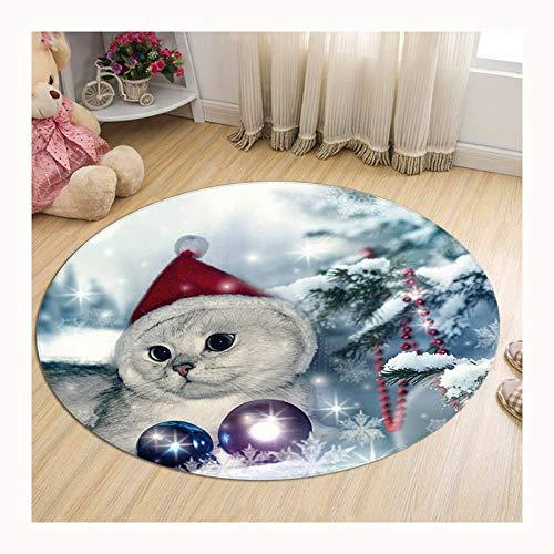 LBWNB Alfombra Antideslizante Absorbente Lavable Alfombra De Baño Gatito Gato con Sombrero De Santa Navidad Alfombra para Sala (Color :...