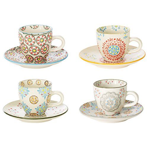 - coffret de 4 tasses à café avec soucoupes décors assortis bohème