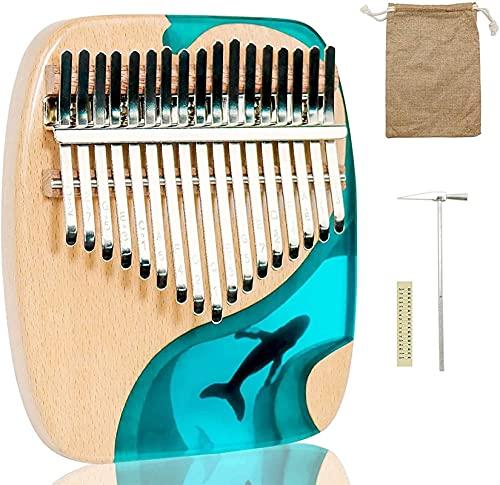 17 llaves de la medusa con forma de ballena thumb piano hecho a mano tablero plano del océano de diseño Tune Hammer Study Instruction Portable Finger Piano Regalo para niños Adultos Principiantes Prof