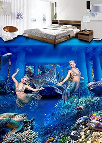 Suelo De Pvc 3D Impermeable Mural De Pared Personalizado Pintura De Suelo Papel Fotográfico De Murales De Pared 3D Palacio Sirena-250Cmx175Cm