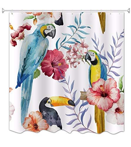 A.Monamour Niedliche Vögel Papagei Familie Liebe Blumen Fotografie Druck Home Décor Bad wasserdichte Duschvorhänge Textil 180X200 cm / 72