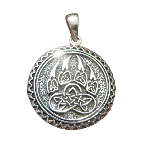 Himalayan Treasures Collar colgante con garra de oso vikingo estilo vikingo de plata 925