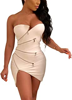 f0ec920b1b68 Women s Sexy Club Outfits - Unique Zipper Front Strapless Tube Mini Bodycon  Dress