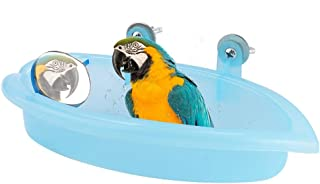 Hffheer Parrot Bathtub Hanging Bird Bathing Supplies Portable Bird Bathroom with Mirror Bird Cage Toy Accessory Blue