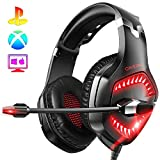 ONIKUMA PS4 Headset-K1 -Gaming Headset Xbox one Headset Gaming Headphone with Surround Sound, RED...