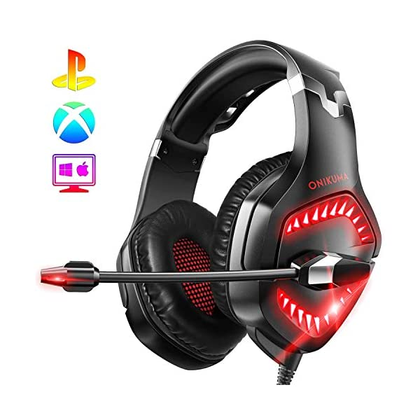 ONIKUMA PS4 Headset-K1 -Gaming Headset Xbox one Headset Gaming Headphone with Surround Sound, RED LED Light & Noise Canceling Microphone for PS4,PC,Mac,Xbox One(Adapter Not Included)