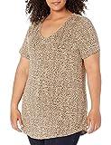 Amazon Essentials Plus Size Short-Sleeve V-Neck Tunic Shirts, Mini Leopardo, 3XL Grande